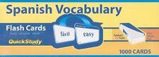 Quick Study Spanish Vocabulary Flash Cards 1000 Cards
