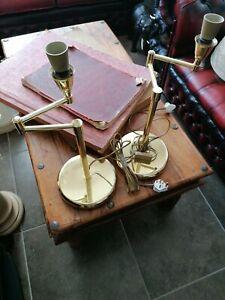 Pair Gold Swing Arm Desk Lamps