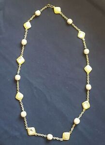 "Costume Jewelry Necklace, Gold Tone And Glass Beads Faux Pearls, 34"" Infinity..."