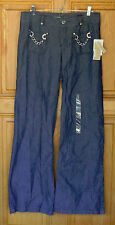Michael Kors Ladies Size 8 Low Rise Wide Leg Trouser Blue Jeans NWT
