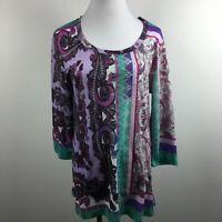 Kiara XL Knit Top Purple Green Paisley Studded Scoop Neck 3/4 Sleeve Stretch