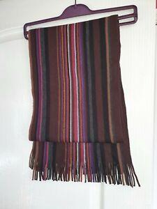 "NEXT mens scarf, fringe, multicoloured stripes,62"" long, 11cm wide in  excellent"