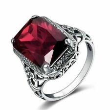 12Ct Emerald Cut Red Ruby Art Deco Filigree Carving Ring White Gold Finsh Silver