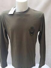 GF Ferre men's long sleeve T-shirt black, white and green khaki