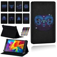 Zodiac Sign Smart Stand Case cover For Samsung Galaxy Tab 2 / 3 / 4 Tablet + Pen