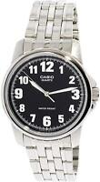Casio Men's MTP1216A-1B Silver Stainless-Steel Quartz Watch with Black Dial