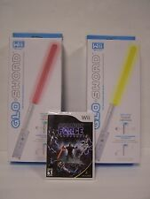 WII Star Wars the Force Unleashed Game and two WII Glow Swords (Red/Yellow)