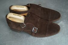 Meermin Goodyear Welted Double Monk Tobacco Brown Suede Shoes UK 9