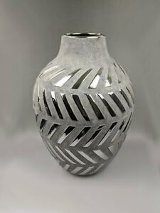 Grey and Silver Effect Tall Vase MirroredMetallic Chevrons Interior Luxe Accent