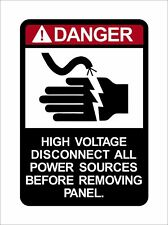 Danger High Voltage Disconnect All Power Sources Warning Vinyl Sticker Decal RAC