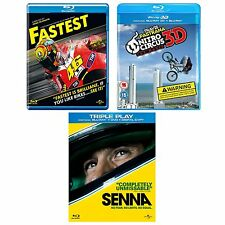 Senna / Fastest / Nitro Circus: The Movie 3D Exclusive Blu-Ray Brand New &Sealed
