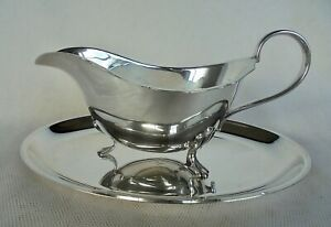 VINTAGE SILVER PLATED SAUCE BOAT AND SMALL SILVER PLATED TRAY -J.B.CHATTERLEY &