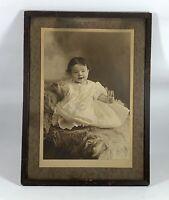 "Vintage Antique Original B&W Photo of Adorable Baby Girl, Framed 15"" x 11"""