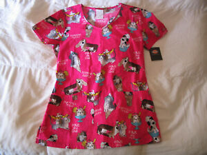 Dickies Scrub Top Size XS V Neck Dog and Cat Print