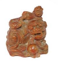 Chien de Fô sculpté dans une pierre de Lard XIXème