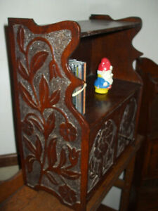 Antique Arts & Crafts carved oak wall shelf cabinet, very charming and practical