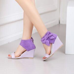 Womens Bowknot Wedge High Heels Back Zipper Sandals Summer Peep Toe Party Shoes