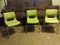 Lot Of 3 Green Mid Century Peabody Children's Chairs