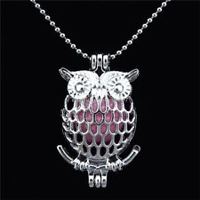 """KK17 Silver Animals Owl Pearl Beads Cage Locket Necklace 16"""" Chain"""