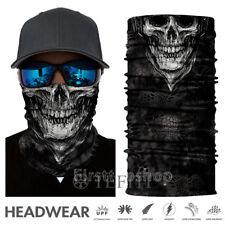 US Black Skull Face Shield Sun Mask Neck Gaiter Balaclava UV Men's Hunting Scarf