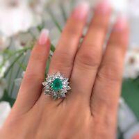 Natural Green Emerald and Diamond Platinum 3.50ctw Ballerina Ring