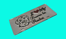 I Love My Bouvier Des Flandres (silver) acrylic mirror laser cut license plate