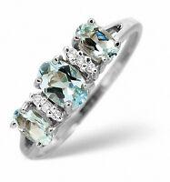 Aquamarine and Diamond Ring Three Stone Engagement Appraisal Certificate