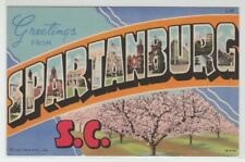 [66374] OLD LARGE LETTER POSTCARD GREETINGS from SPARTANBURG, SOUTH CAROLINA