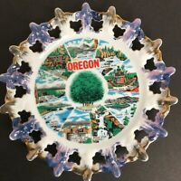 Vintage OREGON SOUVENIR Hang Plate Reticulated Pearl Luster Edge 8.25""