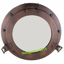 Iron Metal Ship's Porthole Mirror Antiqued Brown Finish Nautical Wall Decor