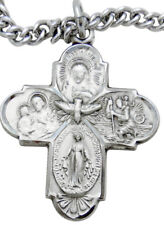 """MRT Sterling Silver Four Way Scapular Medal Cross Gift 1"""" w S Steel Chain Boxd"""
