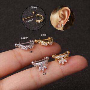 Hoop Cartilage Huggie Earring Piercing Helix Tragus Conch Jewelry 0.8x8mm