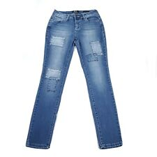 """Earl Jeans Skinny Patchwork Med Wash Jeans Womens Size 6 26""""W x 29""""L"""