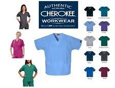 UNISEX SCRUB TOP V-NECK TUNIC 2 HIP POCKETS HOSPITALS CLINICS, DOCTORS CHEROKEE