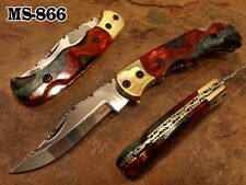 "5""CUSTOM D2 STEEL BACK LOCK FOLDING KNIFE,STABILIZED BUCKEYE BURL EXOTIC WOO 866"