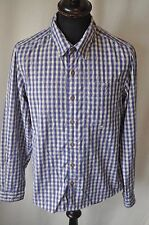 Adidas blue check shirt size small classic mod casual