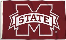 Mississippi State Bulldogs 3' x 5' Flag (M State Logo on Maroon) NCAA Licensed