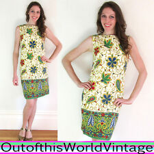 Vtg 60s MOD BATIK MINI DRESS green ethnic sleeveless BABYDOLL INDONESIAN STYLE S