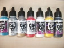 Nail Art Airbrush Paint Set, Main Primary colours + 2 metallics 7 x 17ml bottles