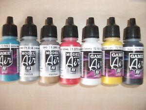 Nail Art Airbrush Paint Set, Main Primary colours + 2 metallics 7 x 17ml bottles