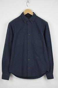 WOOLRICH MIDNIGHT BLUE HEATHER Men's SMALL Melange Thin Flannel Shirt 32835_GS