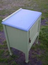 vintage silky oak 1 door storage cabinet up cycled in mint green with  gray top