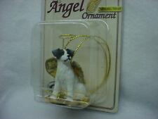 JACK RUSSELL black white Rough Dog ANGEL Ornament Figurine Christmas B&W puppy