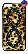 Leopard Infinite Forever Glitter Rubber Case Cover For iPhone 8 7 Plus 6 5 4 X