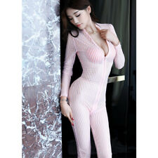 Women Sexy Striped Sheer Jumpsuit Smooth Fiber Two Zipper Long Sleeve Bodysuit