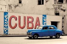 "Viva Cuba photography poster 24x36"" Old Car in Havana"