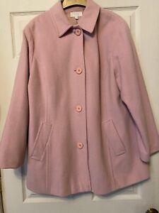 Marks & Spencer Woolmark Blend 3/4 Jacket - Baby Pink Size 18 VGC