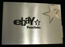 EBAY POWERSELLER BUSINESS CARD HOLDER METAL CASE SILVER WITH BLACK LETTERS NEW!