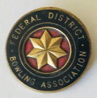 Federal District Bowling Club Badge Pin Rare Vintage (L30)