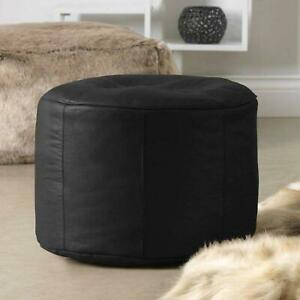 Luxury Real Cowhide Leather Pouffe Designer Leather Ottoman Footrest Black